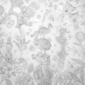 "Lori Field – ""Purgatory"" – silverpoint drawing 50 H x 50 W x 1 in"