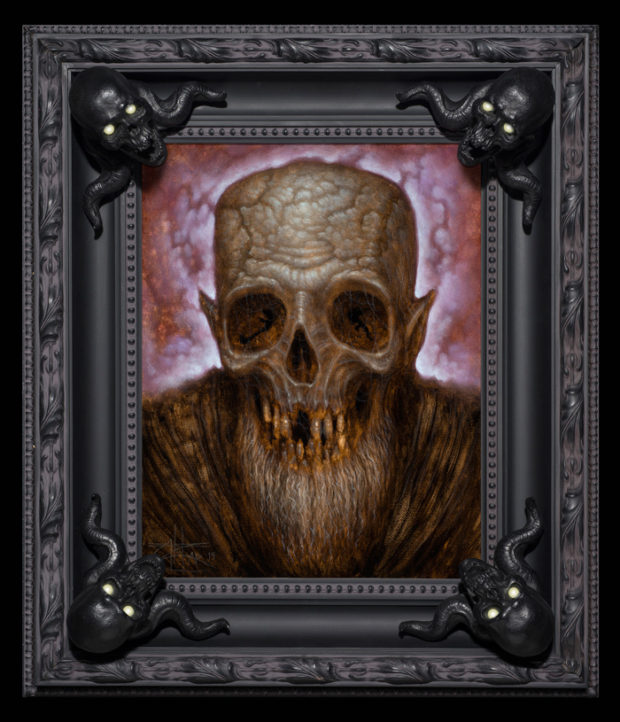 """The Forgotten Prisoner"" by Chet Zar, 11x14"", oil on canvas , (18x20"" framed size) with custom frame (skull corners have glow in the dark eyes)"