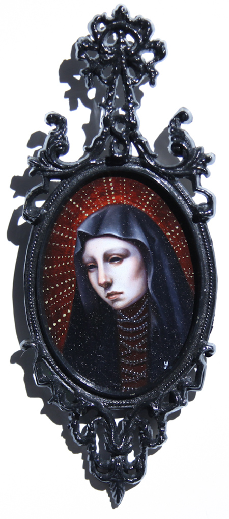 """Heretics 3"" by Jasmine Worth, Oil on panel framed, 3"" x 4.5"""