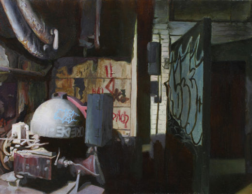 The Metal Door in the Boiler Room by Tun Myaing, oil on mylar, 6 x 12 inches, 2014.